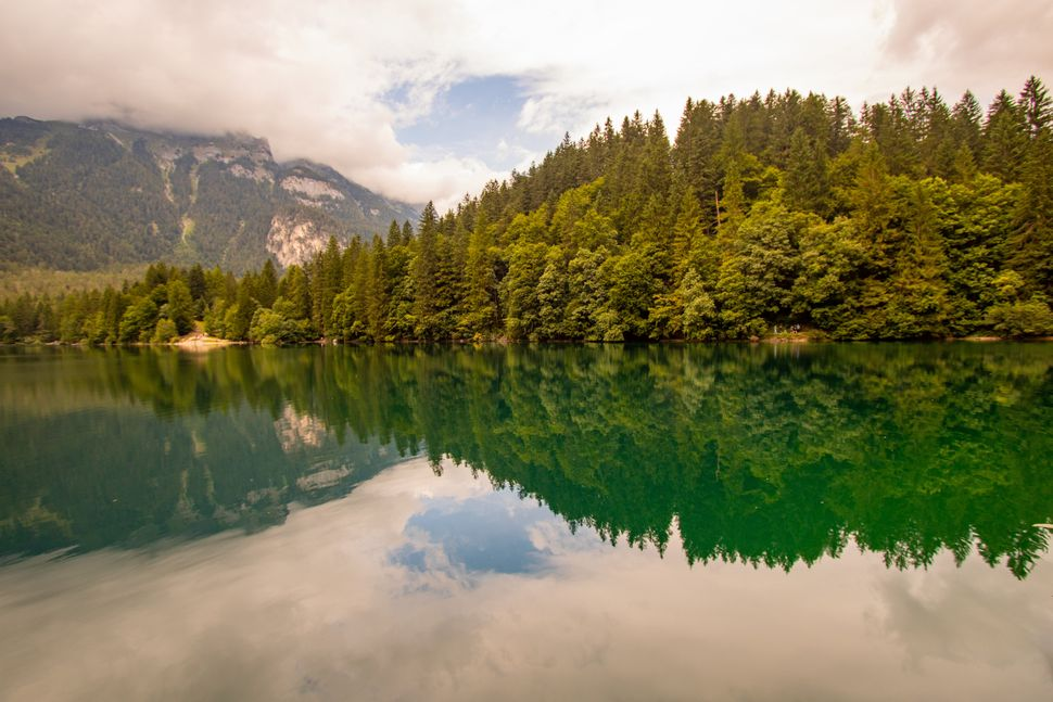 15 August 2019, Val di Non, landscape of Lake Tovel, Adamello-Brenta Natural Park, Italy
