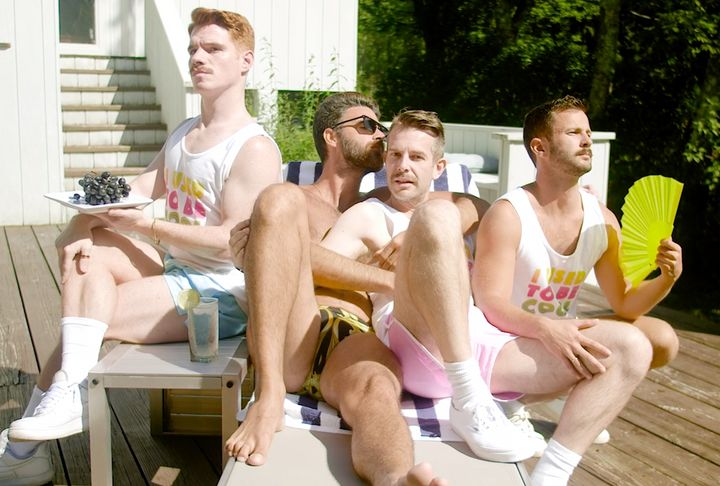"""For the """"I Used to Be Cool"""" video, Bright Light Bright Light (second from right, with co-stars Sam Benedict, Christian Bendek"""