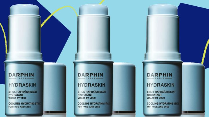 We recommend Darphin's Hydraskin Cooling Hydrating Stick for its ability to to de-puff, fight sweat and fake dewiness.