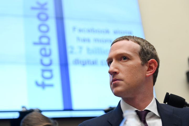 Facebook Chairman and CEO Mark Zuckerberg testifies at a House Financial Services Committee hearing in Washington on Oct. 23, 2019.