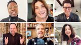 "Billy Porter, Idina Menzel, Dan Levy, Jason Alexander, Andy Cohen and Fran Drescher on ""Saturday Night Seder."""