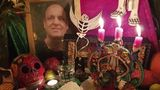 This Nov. 16, 2019 photo shows an altar made by mortician and death cafe host Angela Craig-Fournes in honor of Death Cafe founder Jon Underwood, who died in 2017.