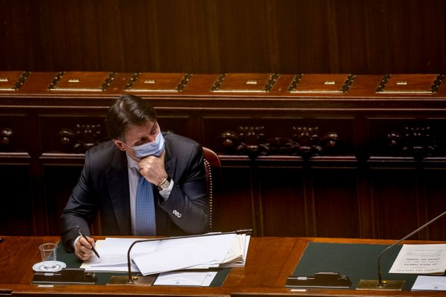 ROME, ITALY - JULY 01: Prime Minister Giuseppe Conte wearing a protective mask answers deputies questions...