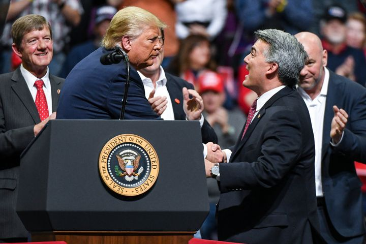 Sen. Cory Gardner (R-Colo.) joined President Donald Trump on stage during a Keep America Great rally in February in Colorado