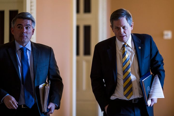 The dilemma facing Gardner (left) over Trump's nomination of William Perry Pendley is shared by Sen. Steve Daines (right), a