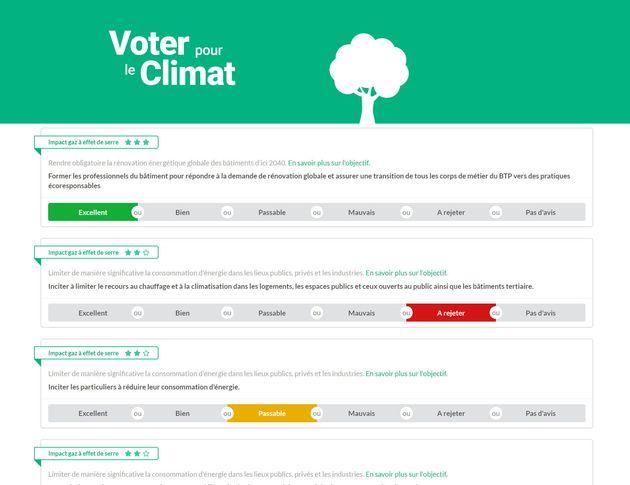 Le site Voter pour le climat permet de juger chaque proposition de la Convention citoyenne pour le