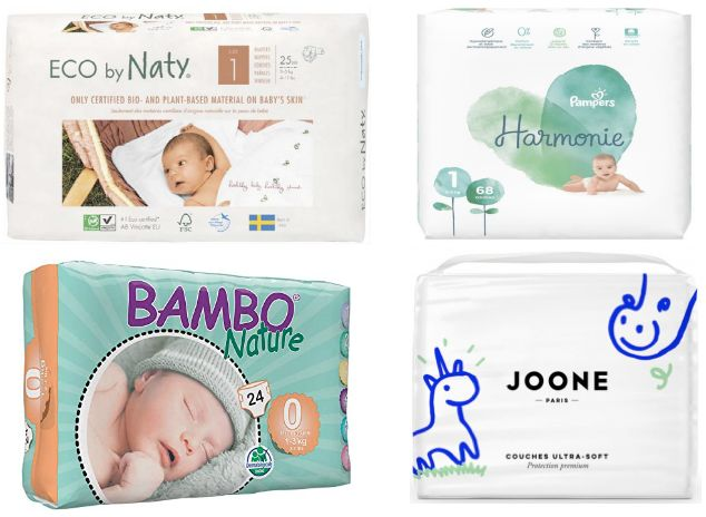 Eco by Naty, Pampers Harmonie, Bambo nature et Joone sont les quatre types de couches classiques à ne présenter aucune trace de substance chimique.