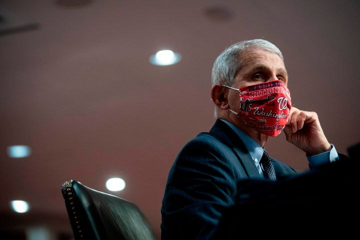 Anthony Fauci, director of the National Institute of Allergy and Infectious Diseases, wears a face covering during a Senate h