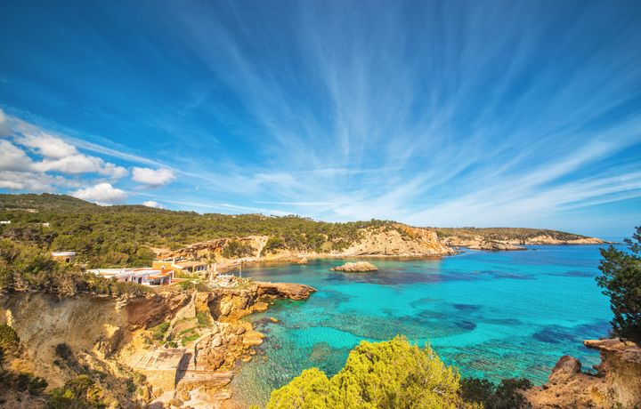 Beautiful landscape at the beach paradise Punta de Xarraco in Ibiza, Spain.