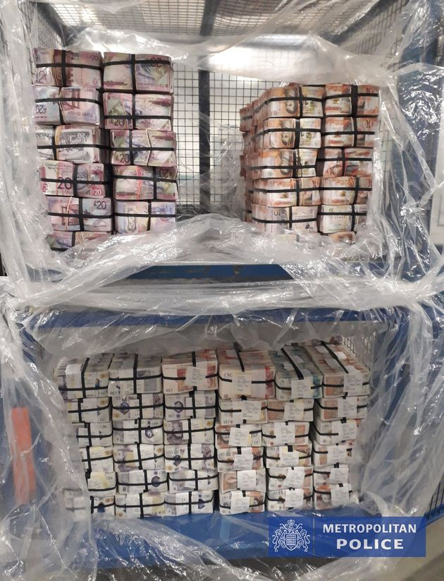 Undated handout photo issued by the Metropolitan Police of £5.1m in cash seized in Operation