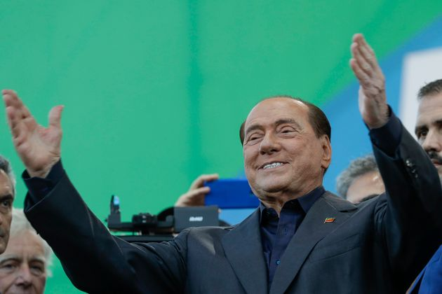 Silvio Berlusconi addresses a rally in Rome, Saturday, Oct. 19, 2019. Thousands of protesters are gathering...