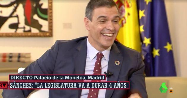 Pedro Sánchez durante la entrevista en