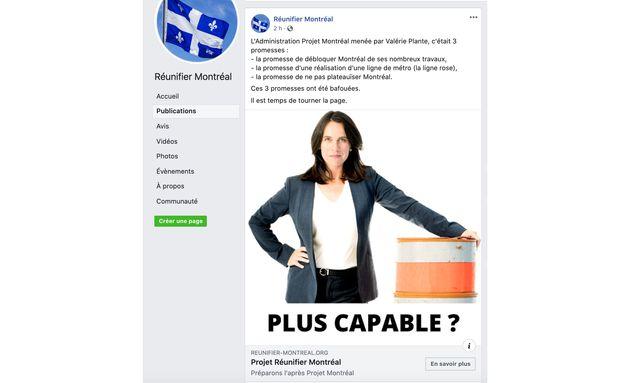 Dans une publication qui n'est maintenant plus disponible sur sa page Facebook, Réunifier Montréal...