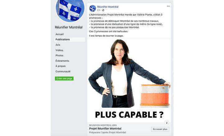 Dans une publication qui n'est maintenant plus disponible sur sa page Facebook, Réunifier Montréal accusait la mairesse de Montréal, Valérie Plante, d'avoir brisé plusieurs promesses.