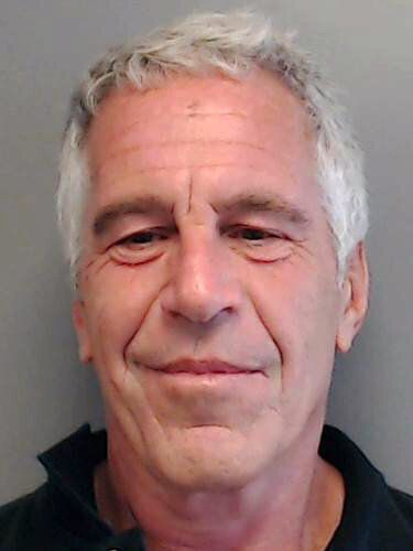 Jeffrey Epstein poses for a sex offender mugshot after being charged with procuring a minor for prostitution...
