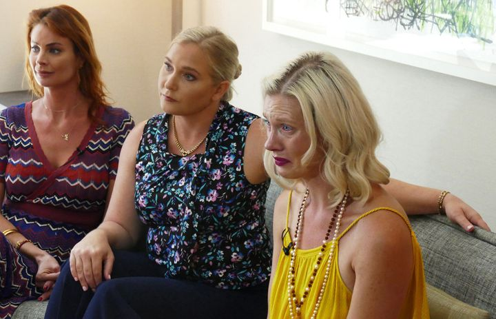 Epstein victims Sarah Ransome, Virginia Roberts Giuffre and Marijke Chartouni (from left) talk about their abuse during an in