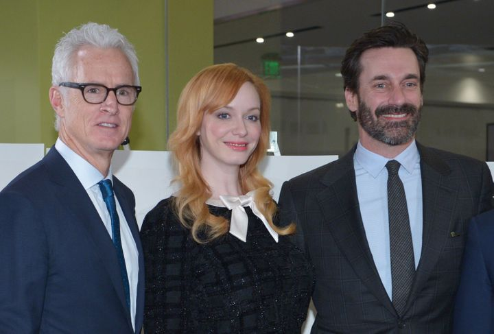 """Mad Men"" will be available for streaming later this month. From left to right: John Slattery, who played the character ""Roger Sterling""; Christina Hendricks, who played ""Joan Harris""; and Jon Hamm, who played ""Donald Draper."""
