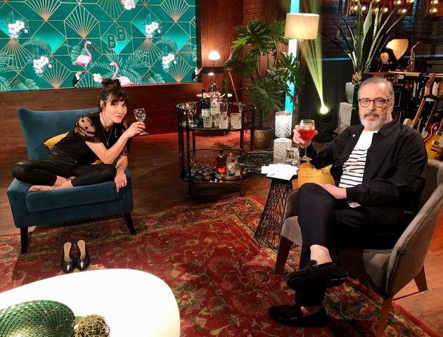Bianca Gervais et Serge Denoncourt sur le plateau de «Bonsoir