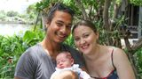 The three of us at our temporary home in Bangkok just a few days after my daughter's birth.