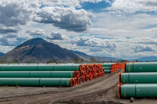 Pipelines are seen here in Kamloops, B.C., for the construction of the Trans Mountain pipeline expansion...