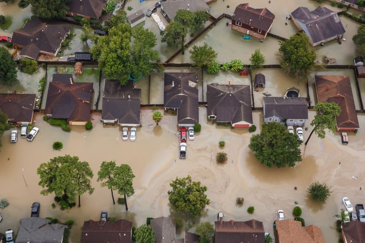 Residential neighborhoods in Houston near Interstate 10 sit in floodwater in the wake of Hurricane Harvey on Aug. 29, 2017.