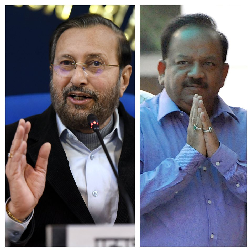 (Left) Minister for Environment, Forests and Climate Change Prakash Javadekar and (Right) current minister...