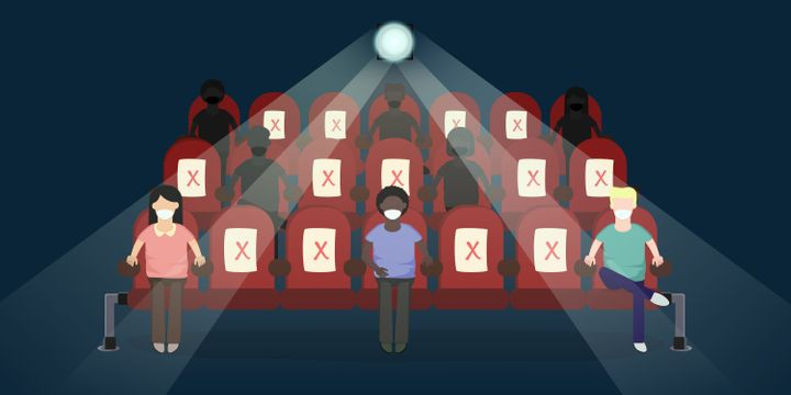 Vector illustration of customers watching a film in movie theatre with new normal social distancing procedures