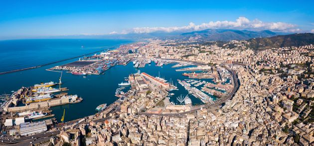 Genoa port aerial panoramic view. Genoa or Genova is the capital of Liguria region in