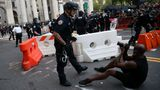 "NEW YORK, USA - JULY 1: Police officers clash with âBlack Lives Matterâ protestors who locked down the streets by City Hall and Police Plaza where hundreds of Black Lives Matter protestors congregate at the City Hall as part of the ""Defund NYPD"" and ""Occupy City Hall"" movement continues in New York City, United States on July 1, 2020. (Photo by Tayfun Coskun/Anadolu Agency via Getty Images)"