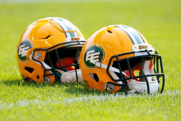 Edmonton Eskimos helmets lined up during a warm-up against the Toronto Argonauts at BMO field in Toronto...