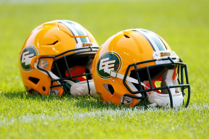 Edmonton Eskimos helmets lined up during a warm-up against the Toronto Argonauts at BMO field in Toronto on Sept. 16, 2017.