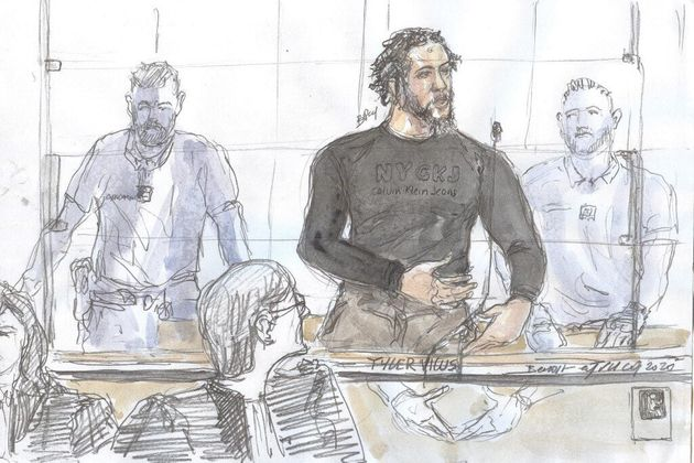 Un dessin représentant Tyler Vilus à son procès, à Paris, le 25 juin