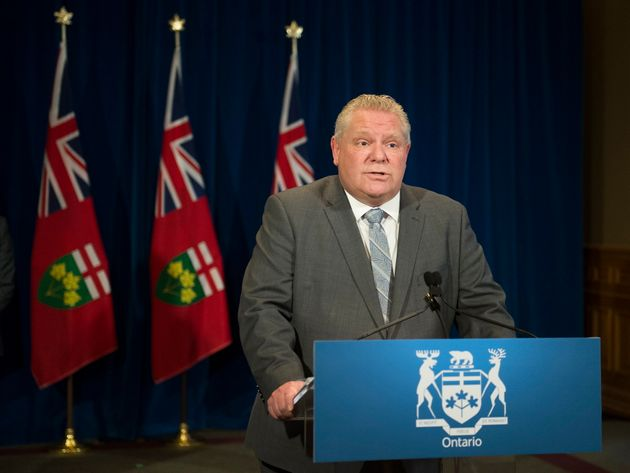 Ontario Premier Doug Ford speaks to the people of Ontario during his daily press briefing on April 10,