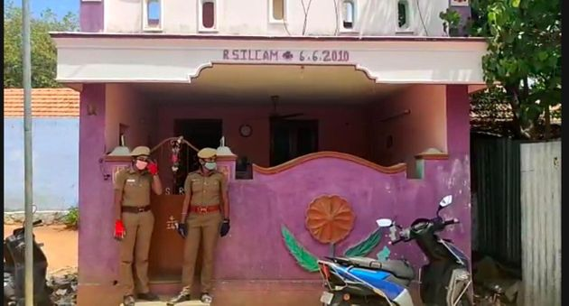 Police guarding the woman constable's house in Sathankulam,