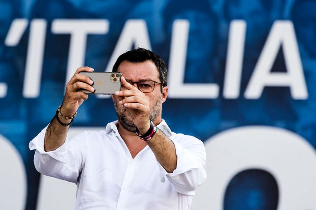 Leader of League party, Matteo Salvini, attend 'Together for the Italy of work', the demonstration against...