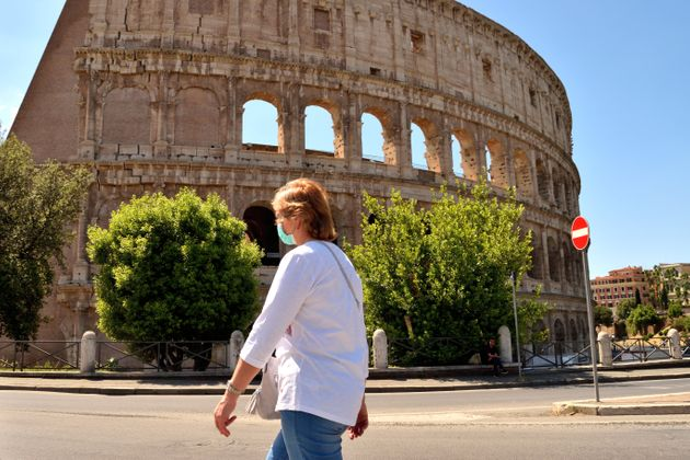May 25th 2020, Rome, Italy: View of the Colosseum without tourists due to the phase 2 of