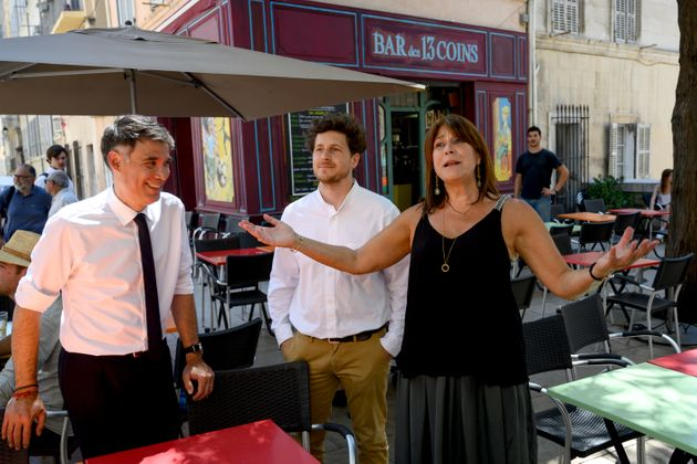 Michèle Rubirola, ici en présence d'Olivier Faure et Julien Bayou les patrons du PS et d'EELV, est la...