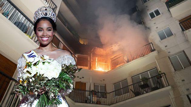 Pour échapper à un incendie, Clémence Botino, Miss France 2020, a dû être évacuée par le balcon de son...
