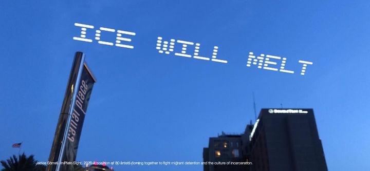 "A mock up of the skytyped phrase ""ICE WILL MELT,"" chosen by artist Jackie Sumell. It will be seen over the USCIS Field Office"