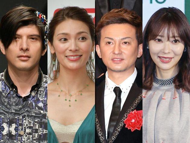 東京都知事選への投票を呼び掛けるツイートをした(左から)城田優さん、秋元才加さん、ISSAさん、指原莉乃さん