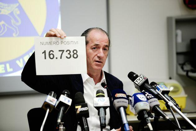 22/04/2020 Marghera, conferenza stampa giornaliera del presidente della Regione Veneto Luca Zaia sulla...