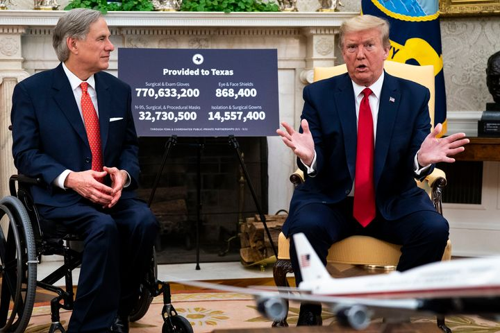 Texas Governor Greg Abbott and Trump. Abbot has similarly followed Trump's lead in largely ignoring the coronavirus until thi