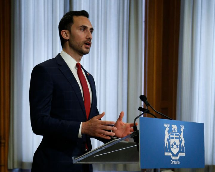 Ontario Education Minister Stephen Lecce speaks at the province's daily briefing at the Ontario Legislature at Queen's Park in Toronto on May 19, 2020.