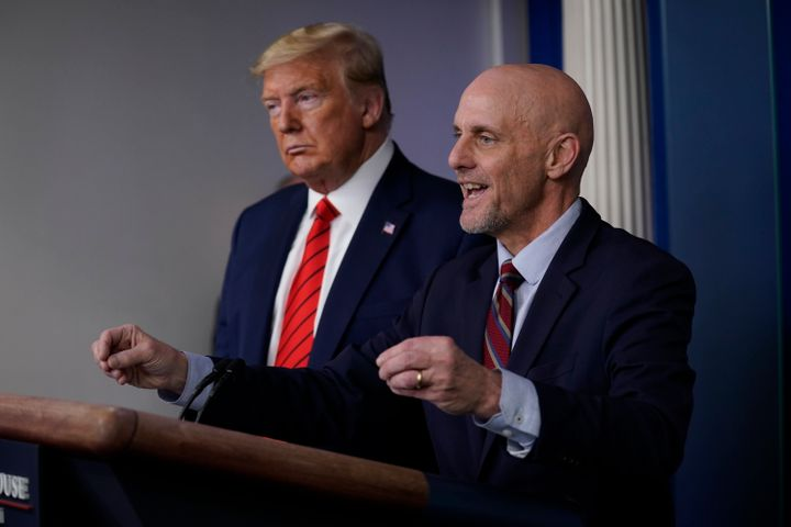 Hahn appeared with President Donald Trump at a White House news briefing in March. On Sunday, he refused to dispute Trump's c