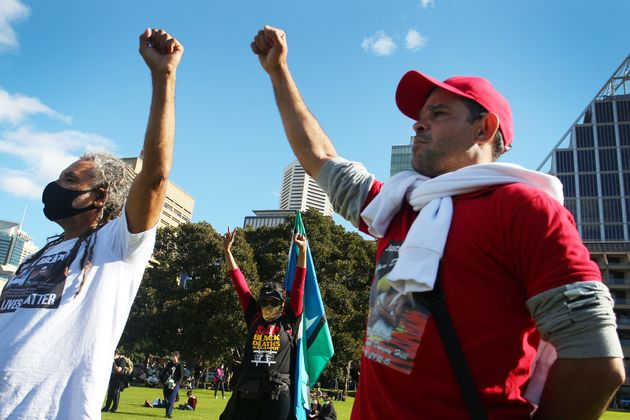 SYDNEY, AUSTRALIA - JULY 05: Members of the Aboriginal community gather in The Domain to rally against...
