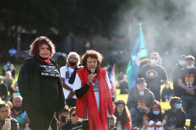 SYDNEY, AUSTRALIA - JULY 05: Leetona Dungay (R) speaks during a rally against Aboriginal and Torres Strait...