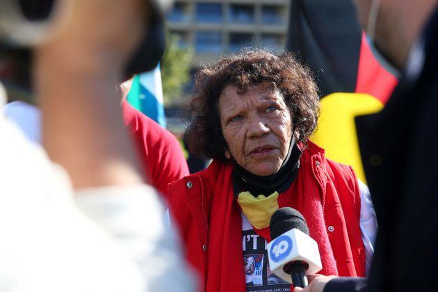 SYDNEY, AUSTRALIA - JULY 05: Leetona Dungay is interviewed during a rally against Black Deaths in Custody...