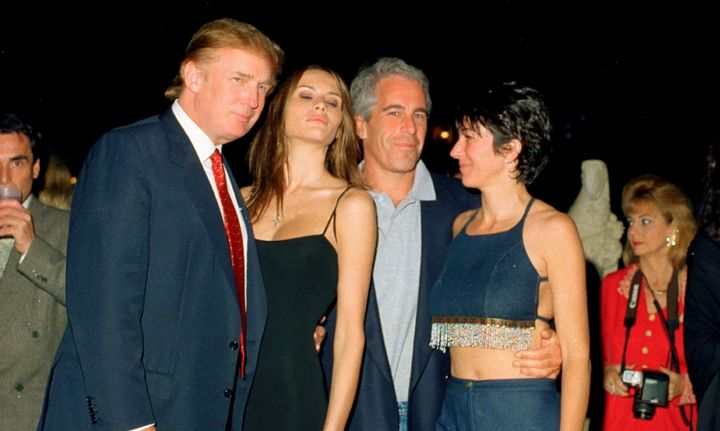 From left, Donald Trump and his then-girlfriend (now wife), Melania Knauss, financier (and future convicted sex offender) Jef