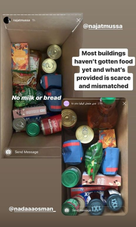 Instagram user @najatmussa provided a snapshot of the food provided to residents.