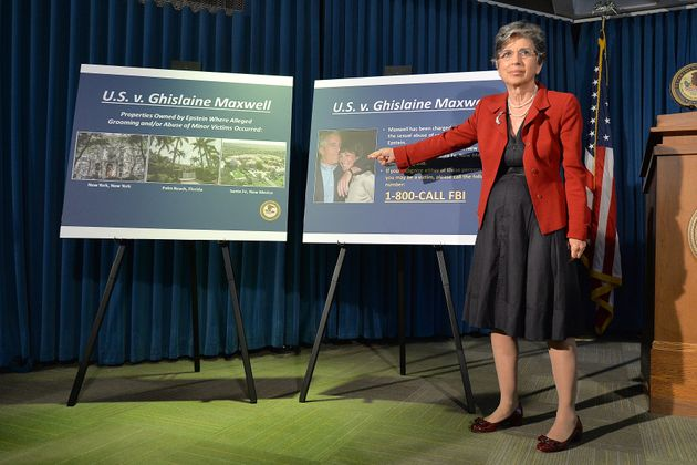 Audrey Strauss, acting US attorney for the Southern District of New York, speaks during a news conference...